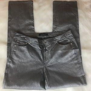 Ashley Stewart Silver Shimmer Straight Leg Jeans